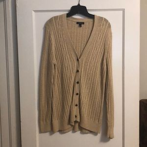Lands End cable knit cardigan.